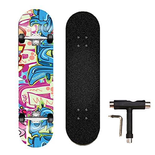 Swing around Ahorn Skateboard Erwachsene Sieben-Schicht-Ahorn-Highwheel-Vierräder-Tiefdruck-Doppel-Neigung Skateboard Erwachsene Anfänger Kinder Skateboard,Little Monsters,80cm/31.4in