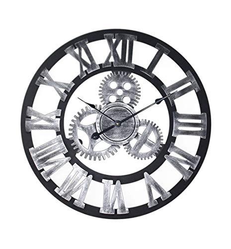 Horloge Murales Silencieuse Horloge murale de chiffre romain créatif de vitesse muet rond Bar de chambre à coucher de salon industriel de décoration de vent (16/24/32 pouces) (40/60/80 cm) Industriel