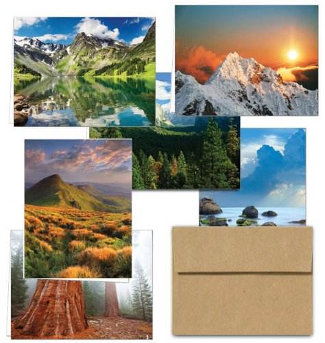 Note Card Cafe All Occasion Greeting Cards with Kraft Kraft Envelopes   72 Pack   Majetic Scenery Design   Blank Inside, Glossy Finish   for Greeting Cards, Occasions, Birthdays