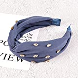 B/H Pelo Anchas Lisas Diademas para Mujer y Niña,Simple Solid Color Hair Band Diamond-Studded Flannel Press Hair out All-Match Fashion Headband-Blue,Nudo Cruzado Diadema Ancho