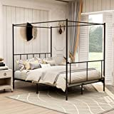 Queen Size Metal Four Post Canopy Bed Frame with Headboard and Footboard,Heavy Duty Platform Mattress Foundation,Black
