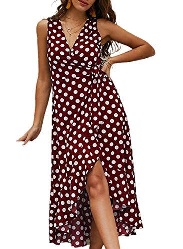 FOBEXISS Vestido elegante de la cintura del lazo de la cintura del lazo de los lunares de las mujeres con cuello en V sin mangas con volantes