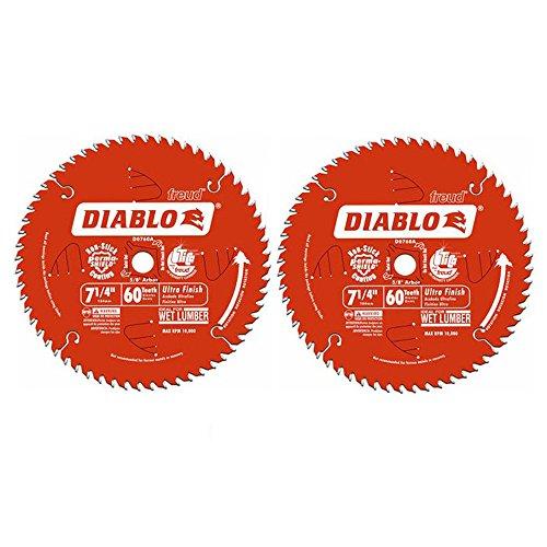 Freud D0760A Diablo Kreissägeblatt mit 1,6 cm (7 1/4 Zoll) Dorn (60 Zähne), ultrafeine Oberfläche, 2 Stück