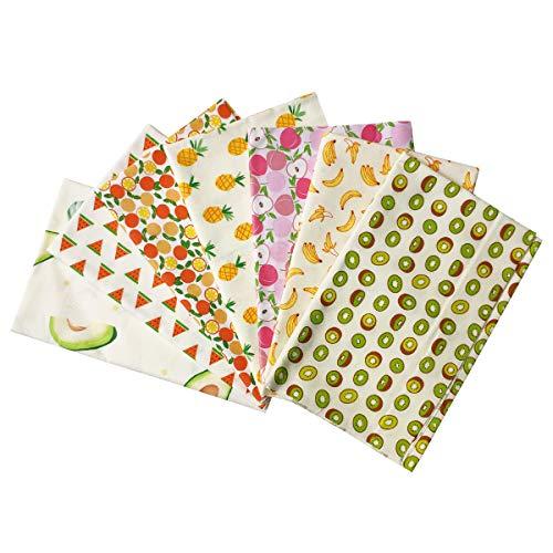 levylisa 7pcs Cotton Fruits Print Fabric Pineapple Banana Watermelon Kiwi Orange Peach Avocado Fat Quarters 18'x22' Fabric Bundle Squares Patchwork for DIY Sewing Quilting Scrapbooking