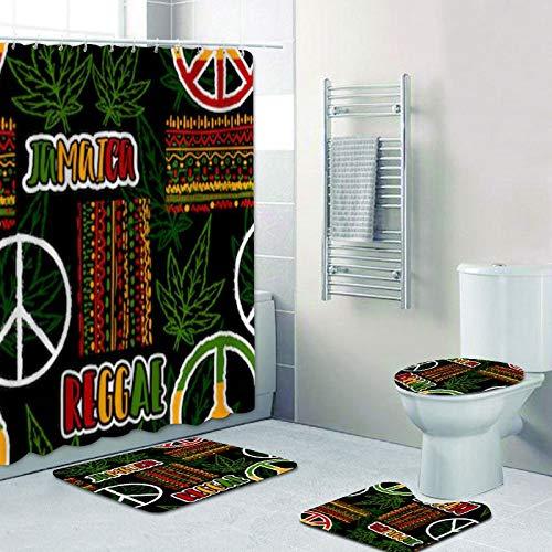 DLJGTOI Duschvorhang Jamaika Flagge Rasta Blatt Duschvorhang Set wasserdicht Reggae Musik Bad Vorhang wasserdicht Toilettenmatte Badezimmer Dekor