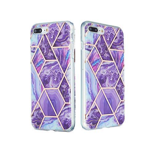 ChoosEU Compatible con Funda iPhone 7 Plus/iPhone 8 Plus Silicona Dibujos Mármol Creativa Carcasas para Chicas Mujer Hombres, TPU Case Antigolpes Bumper Cover Caso Protección - Púrpura