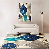 RUGMYW Alfonbras Antideslizantes Pelo Corto Rugs facil de Mantener Sofá Alfombras alfombras Salon Grandes Patrón Abstracto Beige Gris Azul Oro Alfombra Outlet 200X300cm