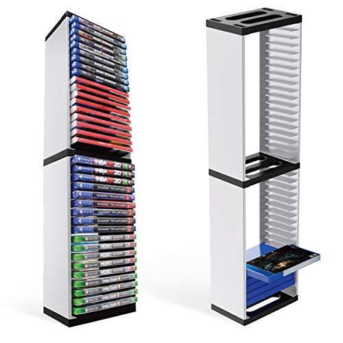 Nicoone Caja de almacenamiento para tarjetas de disco de juegos, soporte para estante de almacenamiento PS5, 36 unidades de discos de juego vertical Torre de almacenamiento simple requiere montaje