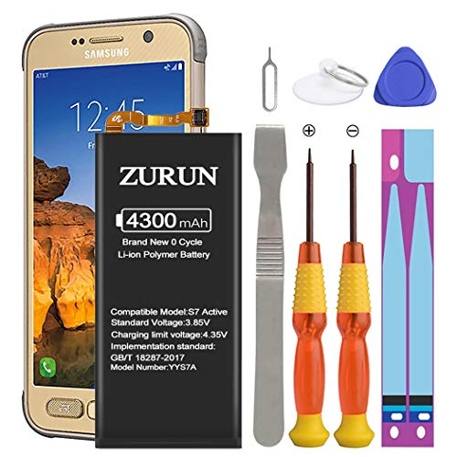 Galaxy S7 Active Battery ZURUN 4300mAh Li-Polymer EB-BG891ABA Battery Replacement for Samsung Galaxy S7 Active SM-G891 G891A G891F with Repair Screwdriver Tool Kit
