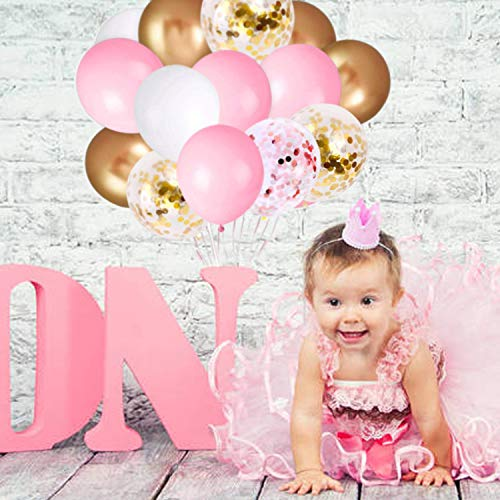 62Pcs Pink Gold Confetti Latex Balloons Kit, 12 Inch Pink White Gold Helium Balloons Party Supplies for Confession Proposal Wedding Girl Birthday Baby Shower Party Decoration