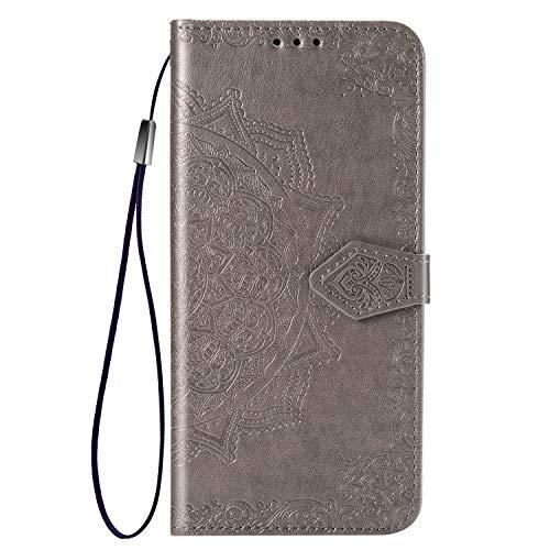TANYO hoes geschikt voor Xiaomi Mi 10 Pro 5G, wallet tas hoes, retro bloemenpatroon design, [Ultra Slim] [kaartsleuf] [telefoonhoes] flip wallet case, Xiaomi Mi 10 Pro 5G, grijs,