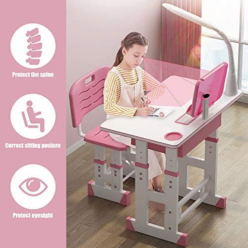InLoveArts Kinderschreibtisch höhenverstellbar, Schreibtisch für Schüler, mit Schubladen/Bleistiftboxen/Bücherregalen/Augenlichtern/Leseständern/Orthesen/Wasserbechern (Rosa)