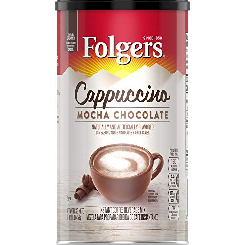 Folgers Cappuccino Mocha Chocolate Instant Coffee Beverage Mix, 16 Ounces (Pack of 6)