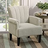 Accent Chair Rivet Tufted Polyester Armchair, Henf Living Room Chair Single Sofa, Barrel Chair Club Chair with Rubber Wood Legs, Upholstered Chair for Living Room/Bedroom/Hosting Room (Cream)