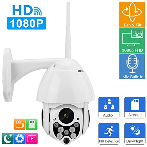 Outdoor IP-camera, Full HD 1080p Wireless Home Surveillance Bullet IP-camera met nachtzicht, bewegingsdetectie, 2-weg audio-talk, 128 GB geheugenkaart Home Security Camera's voor Android / iOS., EU.