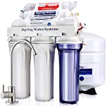 iSpring RCC7AK 6-Stage Under Sink Reverse Osmosis Drinking Water Filter System, NSF Certified, Superb Taste High… 10 Certified to NSF/ANSI 58, 6-Stage Alkaline Remineralization Layered Filtration: Exclusively designed to restore the natural alkalinity and mineral balance of water; this reliable and ultra-safe Reverse Osmosis (RO) water filtration system converts your water into clean, pure and healthy drinking water by removing up to 99% of over 1, 000 harmful contaminants like chlorine, fluoride, lead (removes up to 98%), arsenic, asbestos, calcium, sodium and more. BENEFITS: The iSpring RCC7AK water softener includes an additional sixth stage - an Alkaline Remineralization filter which restores healthy minerals and produces a balanced alkalinity, which gives your water a more natural taste than regular 5 stage RO water filter; the RO membrane removes not only harmful pollutants but also a few helpful minerals. As a result, a standard 5 stage RO system produces slightly acidic water with a pH of 7. 0 or below FEATURES: Beautiful European-Style kitchen faucet. Transparent 1st stage housing for easy visual inspection. Three extra long life pre-filters to remove large contaminants and protect RO membrane. Ultra fine (RO) filter to remove contaminants down to 0. 0001 microns; fine GAC filter to provide final polishing to the purified water and (AK) filter to finally restore just the right proportion of healthy minerals and a natural alkaline balance. The end result is great-tasting bottled-water quality