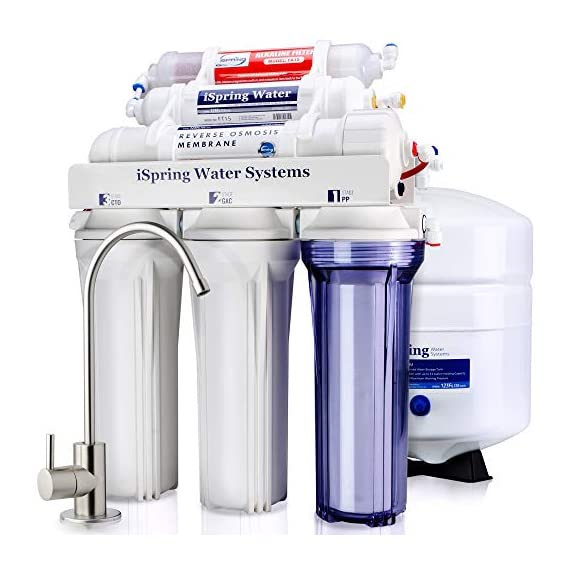 iSpring RCC7AK 6-Stage Under Sink Reverse Osmosis Drinking Water Filter System, NSF Certified, Superb Taste High… 1 Certified to NSF/ANSI 58, 6-Stage Alkaline Remineralization Layered Filtration: Exclusively designed to restore the natural alkalinity and mineral balance of water; this reliable and ultra-safe Reverse Osmosis (RO) water filtration system converts your water into clean, pure and healthy drinking water by removing up to 99% of over 1, 000 harmful contaminants like chlorine, fluoride, lead (removes up to 98%), arsenic, asbestos, calcium, sodium and more. BENEFITS: The iSpring RCC7AK water softener includes an additional sixth stage - an Alkaline Remineralization filter which restores healthy minerals and produces a balanced alkalinity, which gives your water a more natural taste than regular 5 stage RO water filter; the RO membrane removes not only harmful pollutants but also a few helpful minerals. As a result, a standard 5 stage RO system produces slightly acidic water with a pH of 7. 0 or below FEATURES: Beautiful European-Style kitchen faucet. Transparent 1st stage housing for easy visual inspection. Three extra long life pre-filters to remove large contaminants and protect RO membrane. Ultra fine (RO) filter to remove contaminants down to 0. 0001 microns; fine GAC filter to provide final polishing to the purified water and (AK) filter to finally restore just the right proportion of healthy minerals and a natural alkaline balance. The end result is great-tasting bottled-water quality