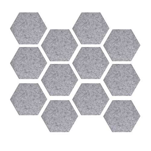 Navaris Hexagon Felt Board Tiles - Set of 12 Notice Memo Bulletin Boards with Push Pins Pack with Double-Sided Tape 5.9 x 6.7 inches - Light Gray