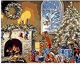Pintura por números / kit de pintura al óleo / sin marco / lienzo de pintura preimpreso para niños y principiantes-Armario de Navidad