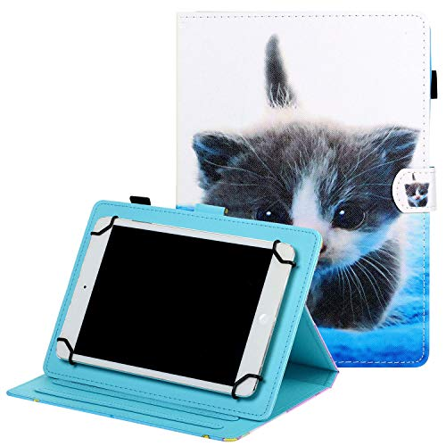Coopts 10 Inch Universal Tablet Case with Pencil Holder, Folio Stand Wallet Pocket 9' 9.7' 10' 10.1' 10.5' Cover for Fire HD 10/MediaPad T3 T5/Lenovo Tab 3/Tab 4/ZenPad 3S 10/RCA Viking 10,Cat