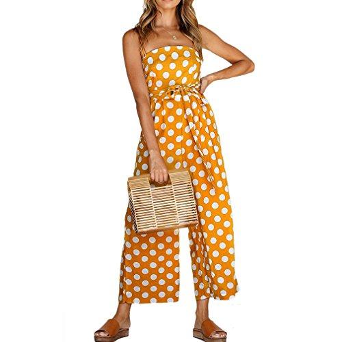 Honghu Correa de Espagueti Femenina Hombro Polka Dots Pantalones Largos Mamelucos del Mono del Mono Playeras Amarillas S