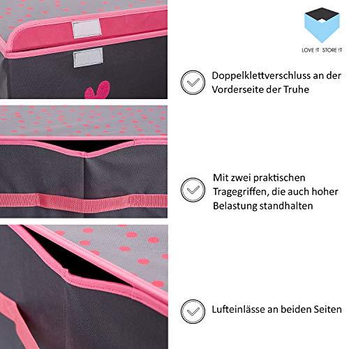 Store It 670407 Spielzeugtruhe, Polyester, Krone - grau/weiß/pink, 62 x 37,5 x 39 cm - 5