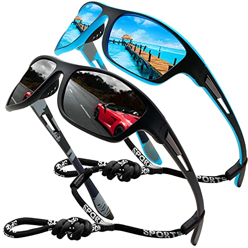 Perfectmiaoxuan Gafas de sol polarizadas para hombre mujer/Golf de pesca fresco Ciclismo El golf Conducción Pescar Alpinismo Deportes al aire libre Gafas de sol (2 PACK (black/blue))