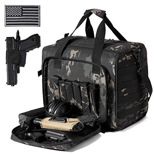 DBTAC Gun Range Bag Large   Tactical Pistol Shooting Range Duffle Bag for 4+ Handguns Range Trip - 2 in 1 Camera Duffel Bag with 2X Removable Velcro Divider for DSLR (Black Camo)