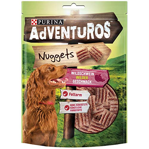 PURINA AdVENTuROS Nuggets Hundeleckerli fettarm, Hundesnack mit Wildschweingeschmack, 6er Pack (6 x 90g)