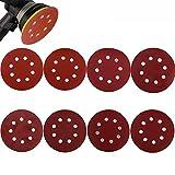 Gudotra 80pcs Discos de Pulir Papel de Lija Velcro Redonda para Lijadora Orbital Grano de 320/400/600/800/1000/1200/1500/2000 (8 agujeros) (Ronda)