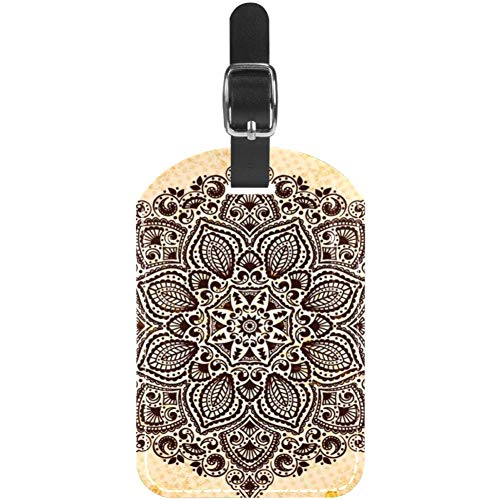 TIZORAX Mandala Behang PU Lederen Bagage Tags voor Reizen Tassen Koffer, 1 st
