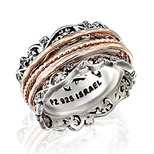Paz Creations .925 Sterling Silver and Rose Gold Over Silver Spinner Ring (7), Made in Israel