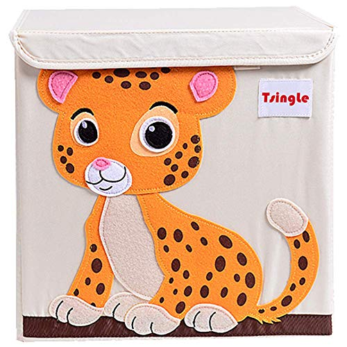 TsingLe Scatola Porta Oggetti con Coperchio, per Bambini, Pieghevole, in Tela, con Personaggio in Stile Cartone Animato, Grande, a cubo, per Vestiti, Scarpe, Giocattoli, 33 x 33 x 33cm (36L) - Tiger