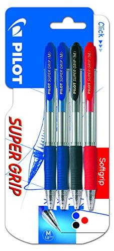 Pilot Spain Super Grip - Bolígrafo retráctil con tinta base aceite, 4 unidades, multicolor