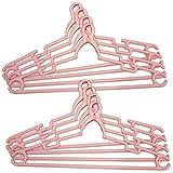 コモライフ ジャンボクリップハンガー 幅広 ピンク ワイドな肩幅46cm 飛びにくい 首が伸びない 男性用 大人のシャツ 8本入