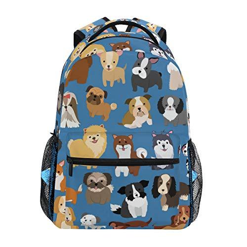 Boys Puppy Backpacks for School Blue Cute Dog Bookbags for Kids Teen Toddler Fashion Daypack Rucksack Travel Laptop Bag
