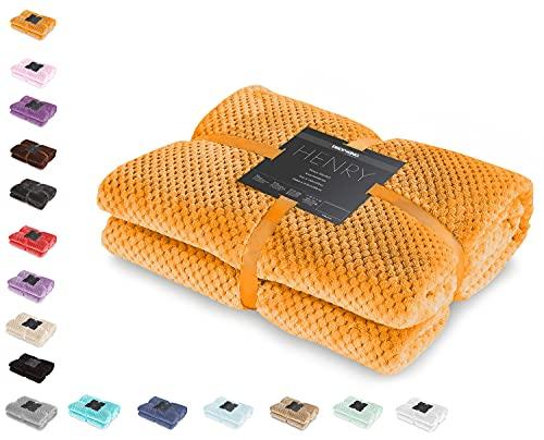 DecoKing Kuscheldecke 70x150 cm orange Decke Microfaser Wohndecke Tagesdecke Fleece weich sanft kuschelig skandinavischer Stil Henry