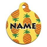 1.25' Yellow Pineapples Personalized Hi-Def Pet ID Tag with Silencer, Medium, Yellow Dog Design