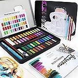 Aquarellfarben Set, 48 Farben Exqline Aquarell Set mit 8 Aquarellpapieren, 2 Wassertankbürsten, 2 Hakenstiften, 2 Wischschwämmen, 1 Weißpigment, 1 Mischpalette, 1 Farbkarte für Anfänger, Künstler