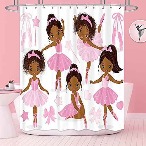 Riyidecor Rosa Ballett-Duschvorhang, niedliches Mädchen, Ballerina, Tänzerin, Gymnastik, Kinderzimmer, Badezimmer, Stoff, wasserdicht, für Badewanne, 183 x cm, inklusive 12 Stück Kunststoff-Duschhaken