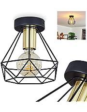 Plafondlamp Denno, plafondlamp van metaal in zwart en goud, vintage/retro look kamerlamp 1 lamp, 1 x E27 max. 60 watt, lichteffect aan het plafond, geschikt voor LED-lampen