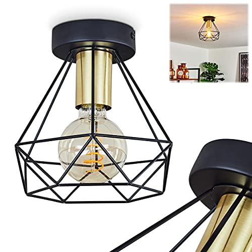 Lámpara de techo Denno, lámpara de techo de metal en negro y dorado, estilo vintage/retro, 1 bombilla E27 máx. 60 W, efecto de luz en el techo, adecuada para bombillas LED