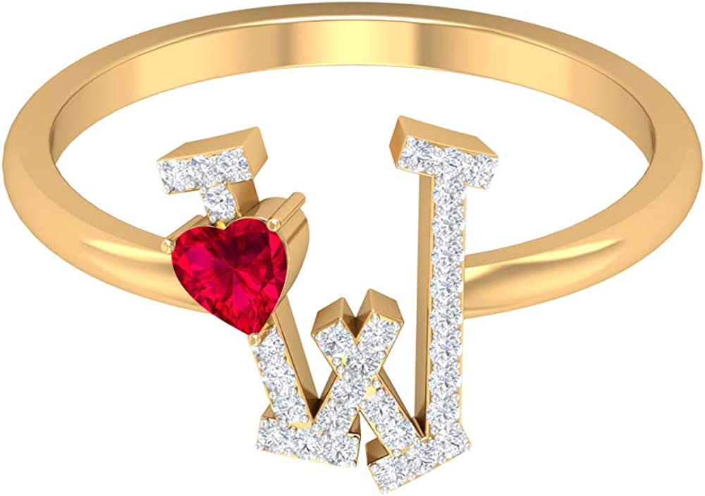 Ruby and Diamond Ring 1/2 CT, Letter W Ring, Gold Alphabet Jewelry (3.5 MM Heart Shaped Ruby), 14K Yellow Gold, Size:US 11.5
