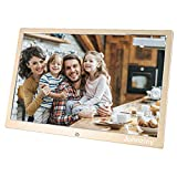 14.1 inch Digital Picture Photo Frame with Remote Control, 720P 1080P MP3 Photo Video Player, Slideshow/Calendar/Clock / 11 Languages, Support USB Disk and SD/MMC/MS/SD Card (Gold)
