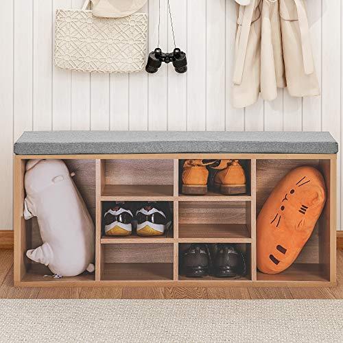 Zebery Banco zapatero con 14 compartimentos acolchados, para entrada, pasillo, dormitorio, etc.