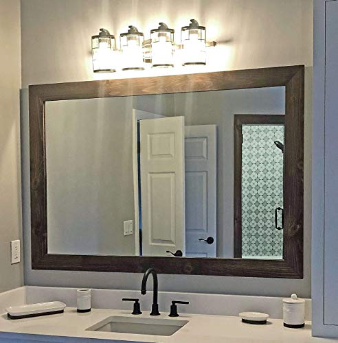 Shiplap Rustic Wood Framed Mirror, 20 Stain Colors, Special Walnut - Reclaimed Styled Wood, Large Vanity Mirror, Bathroom Mirror, Master Bathroom Mirror, Full Length Mirror, Big Mirror, Hanging Mirror