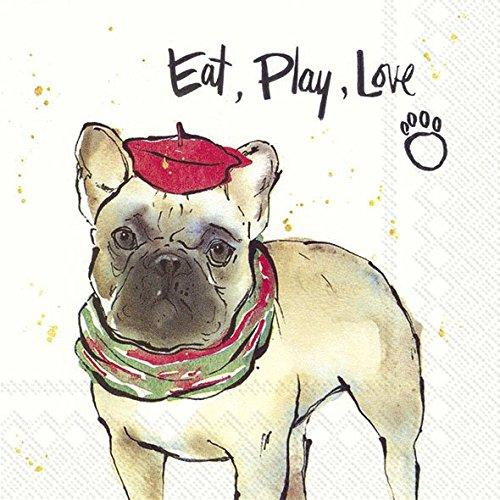 OSCAR pug bulldog 'eten, spelen, liefde' Kerstmis Luncheon Papier Tafelservetten 20 in een verpakking 33cm vierkant