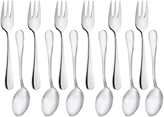 Snamonkia Small Appetizer Forks and Demitasse Spoons Stainless Steel Set of 12, 5.4 Inches, Salad Dessert Coffee Cocktail Espresso Flatware