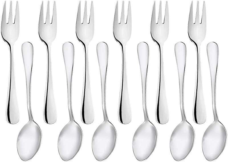 Snamonkia Small Appetizer Forks And Demitasse Spoons Stainless Steel Set Of 12 5 4 Inches Salad Dessert Coffee Cocktail Espresso Flatware