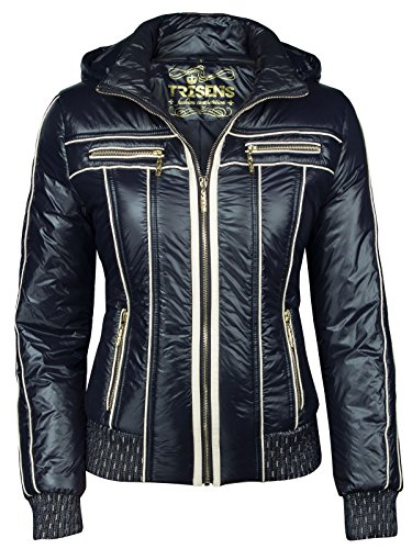 Trisens Damenjacke ÜBERGANGJACKE Biker Jacke Jacket KURZ LEICHT FRÜHLING Kapuze, Farbe:Dunkelblau, Größe:XL